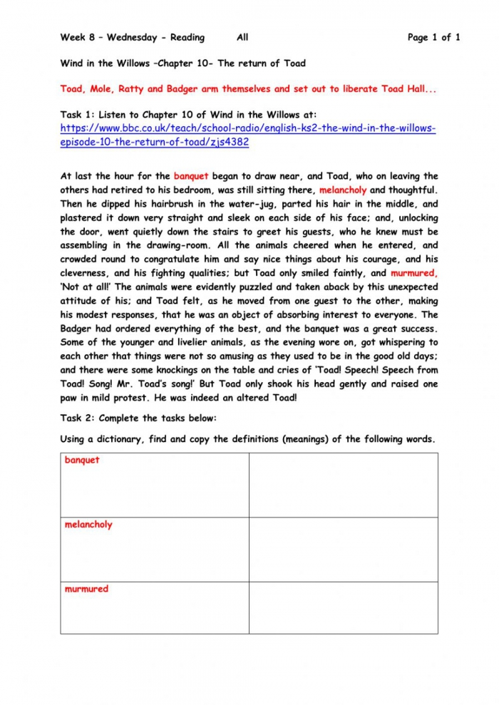 Wind In The Willows Chapter  Worksheet