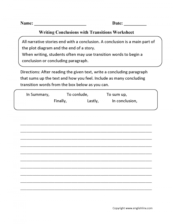 Writing Conclusions With Transitions Worksheets
