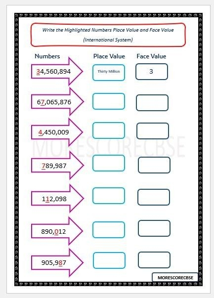 Writing Place Value And Face Value In International System