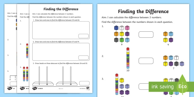 Year  Finding The Difference Differentiated Worksheet  Activity