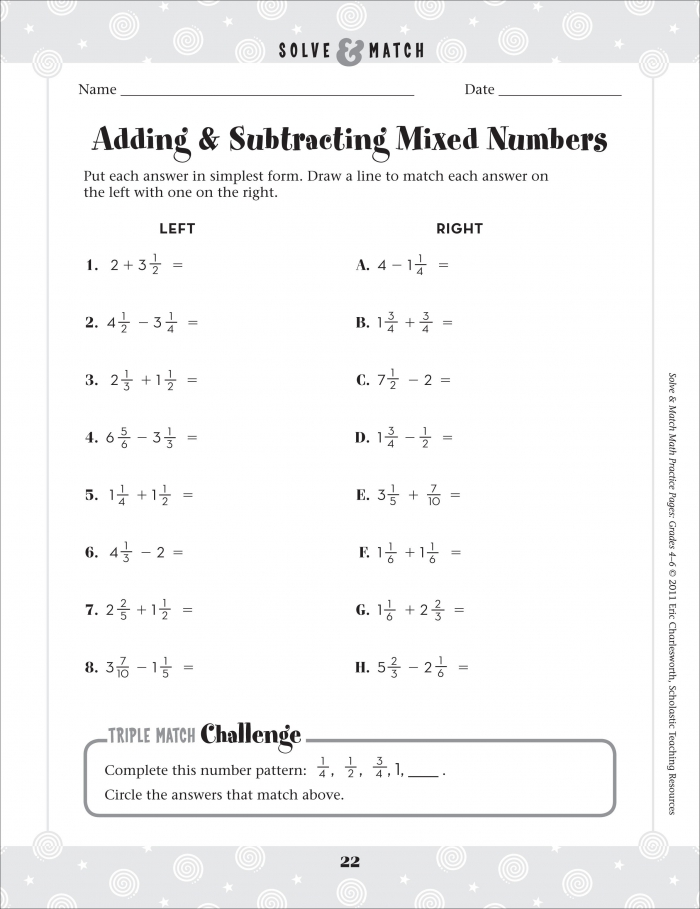 Adding And Subtracting Mixed Fraction Worksheets For Kindergarten