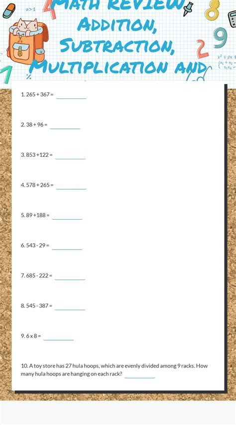 Addition Subtraction And Multiplication Worksheet Page