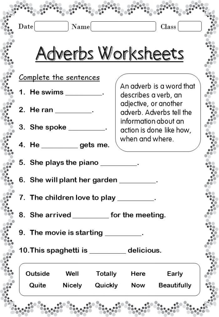 Adverbs Worksheets Forgradetable Adverb For Nd Grade Your Home