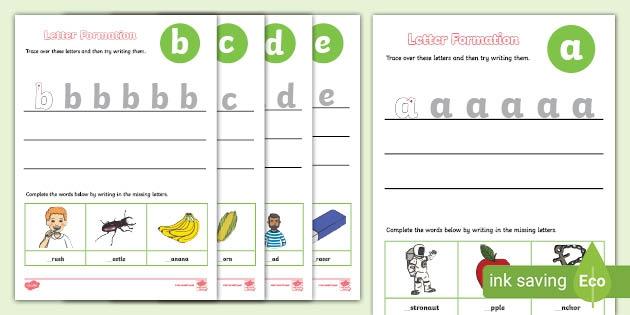 Alphabet Letter Formation Worksheets A