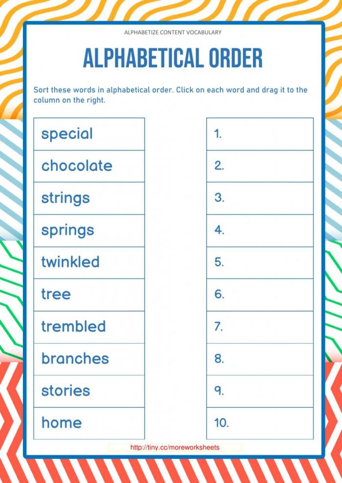 Alphabetize Content Vocabulary  Worksheet