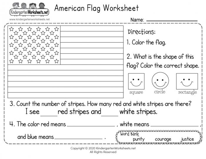 American Flag Worksheet For Kindergarten