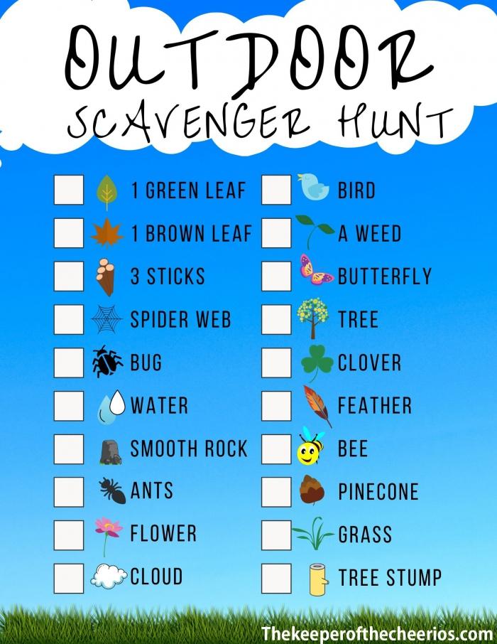 Backyardoutdoor Scavenger Hunt Activity Sheet