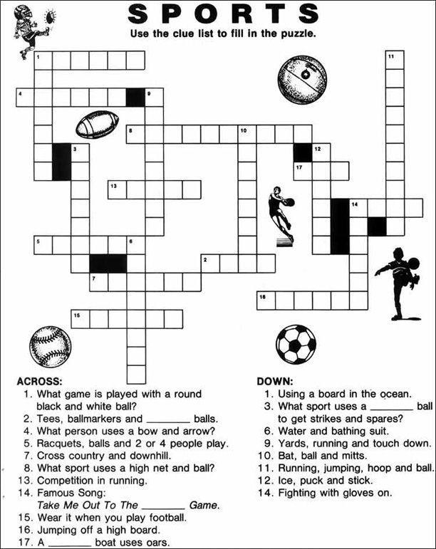 Best Images Of Sport Crossword Printable