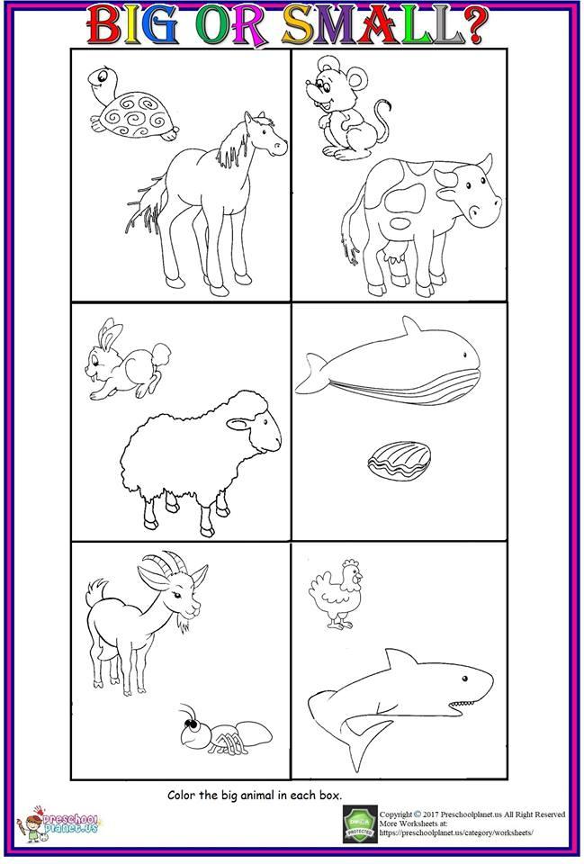 Big Or Small Worksheet For Kids  Preschoolplanet