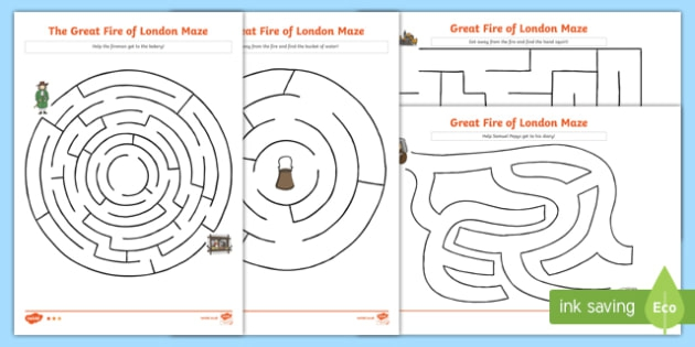 Black And White The Great Fire Of London Differentiated Maze Worksheet