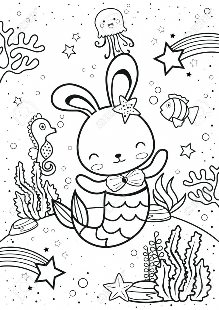 Bunny Mermaid With Friends Coloring Page Kids Coloring Book