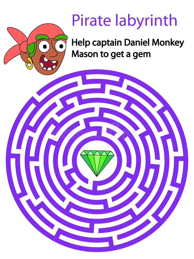 Cartoon Pirate And Green Briliant Circle Maze Vector Worksheet For