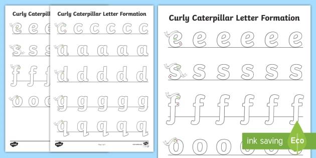 Caterpillar Letter Formation Worksheet