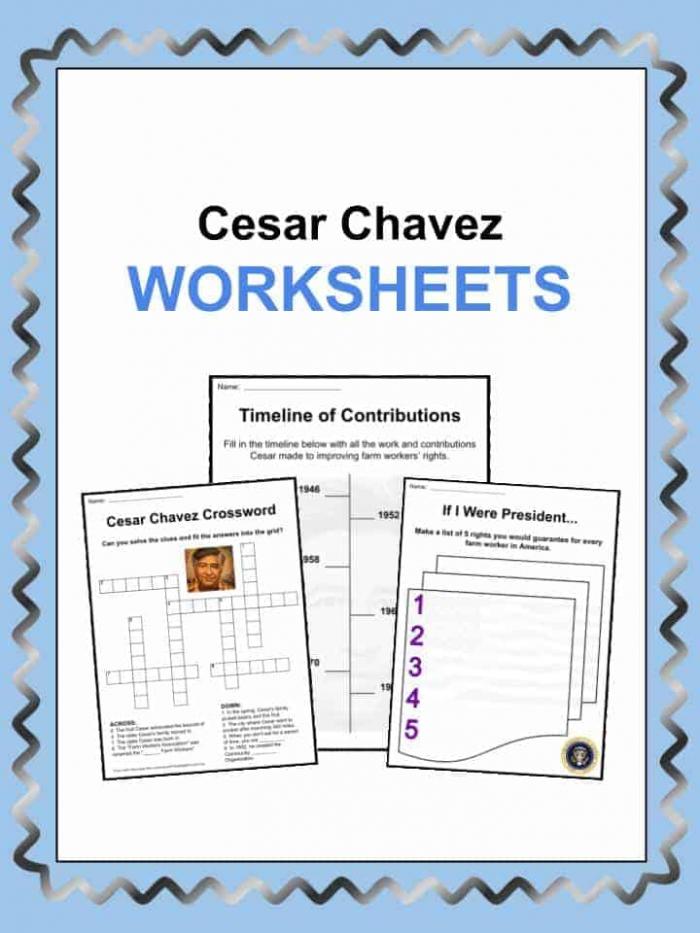 Cesar Chavez Facts  Worksheets   Information For Kids
