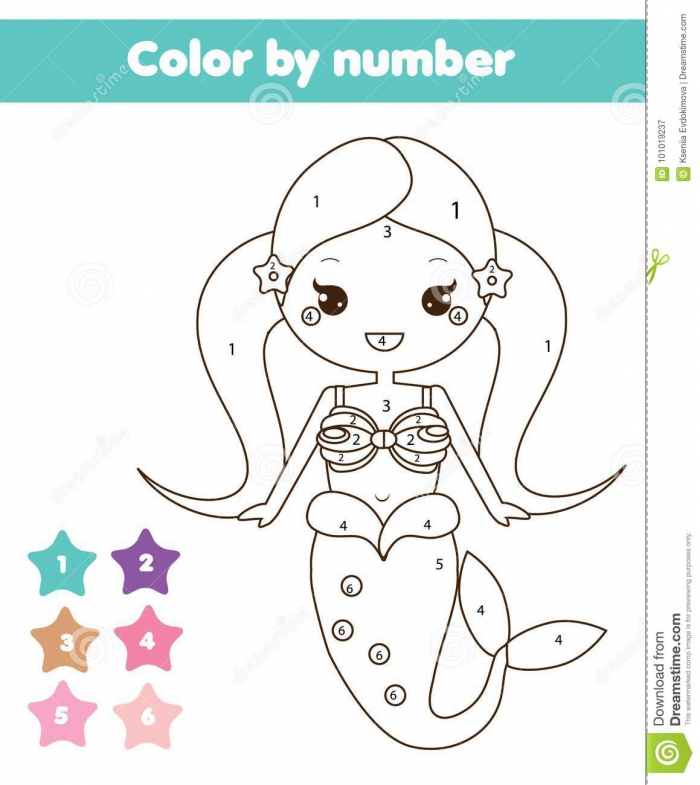 Children Educational Game Coloring Page With Mermaid Stock