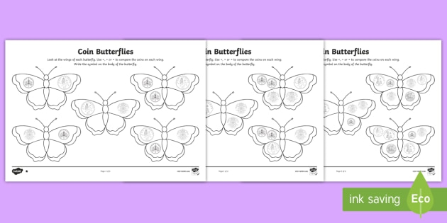 Coin Butterflies Greater Than Or Less Than Worksheet  Activity Sheets