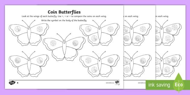 Coin Butterflies Greater Than Or Less Than Worksheet  Worksheet