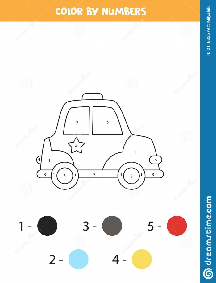 Color Cartoon Police Car By Numbers Transportation Worksheet