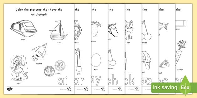 Color The Digraph Vocabulary Worksheets