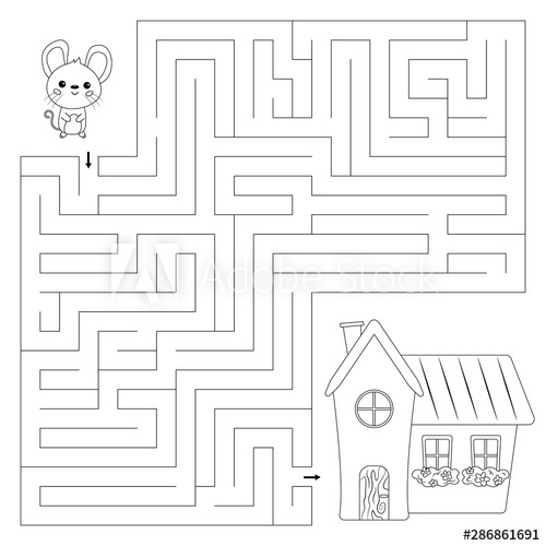 Coloring Page For Kids Maze Game Help The Mouse Find Right Way