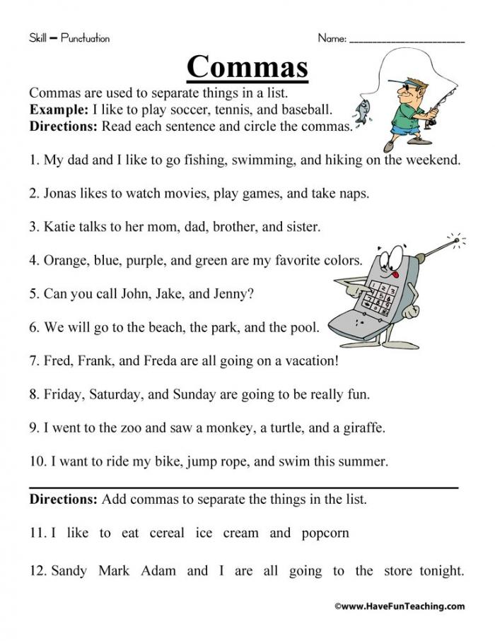 Commas In A List Worksheet  Have Fun Teaching