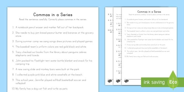 Commas In A Series Practice Activity Teacher Made