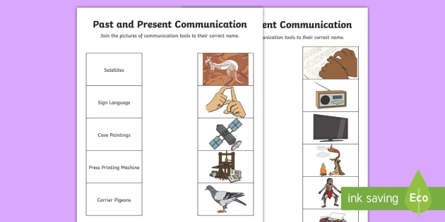 Communication Past And Present Word And Picture Matching Worksheet