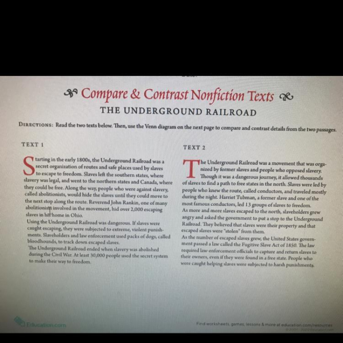 Compare And Contrast The Underground Railroad