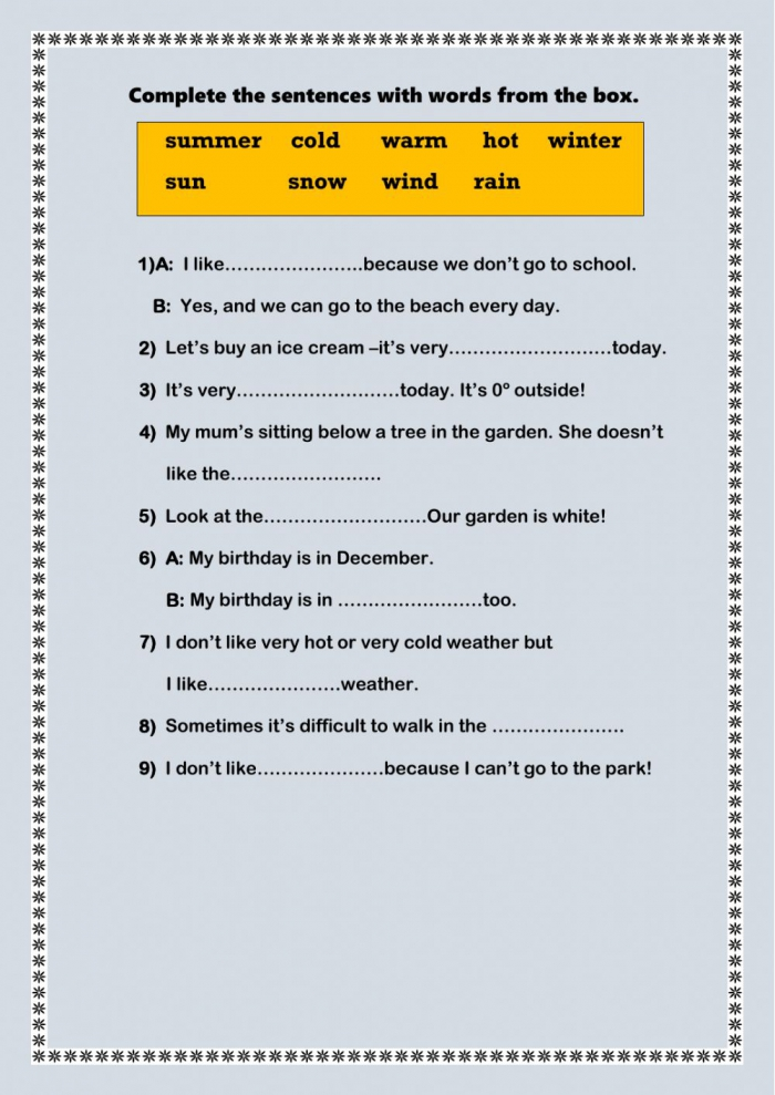 Complete The Sentences Free Online Exercise