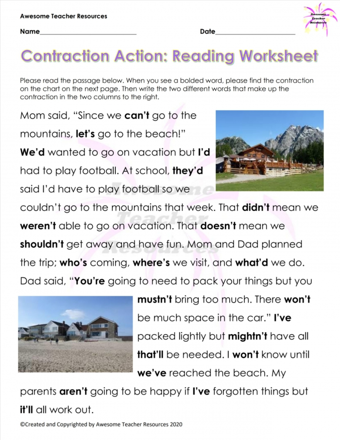 Contraction Action Reading Worksheet
