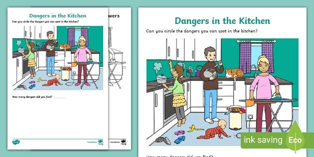 Dangers In The Kitchen Kitchen Hazards Worksheet