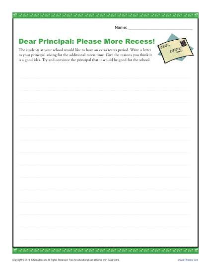 Dear Principal Please More Recess