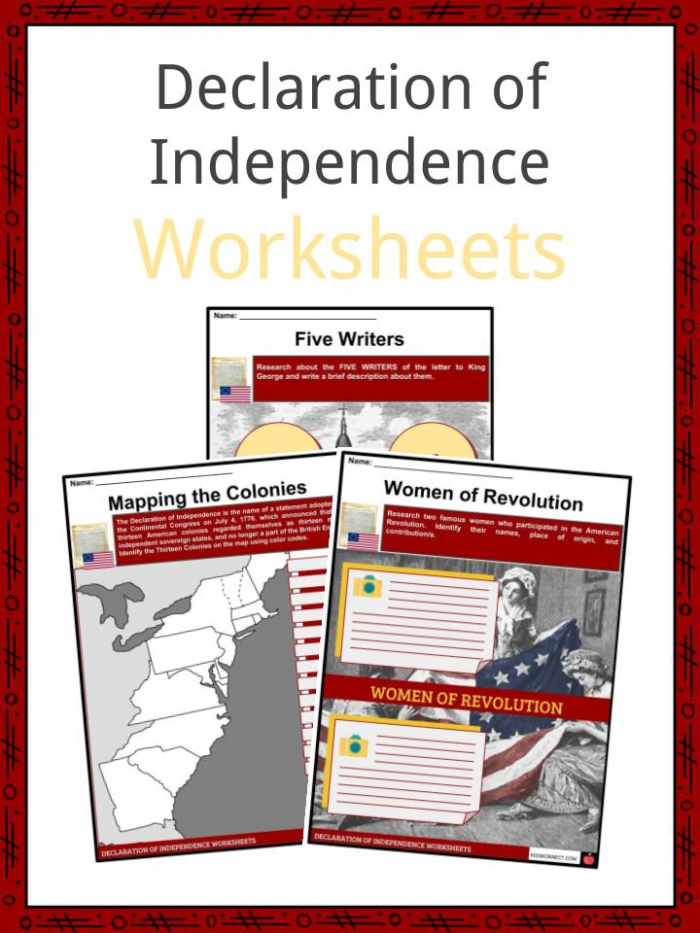 Declaration Of Independence Facts   Worksheets