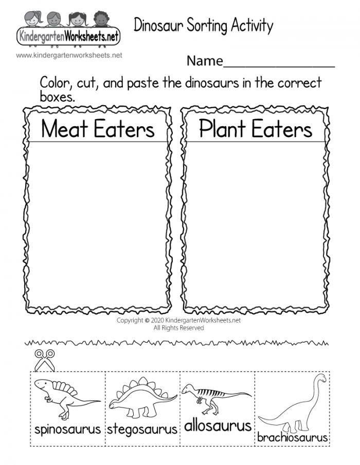 Dinosaur Sorting Activity Worksheet For Kindergarten Free Printable