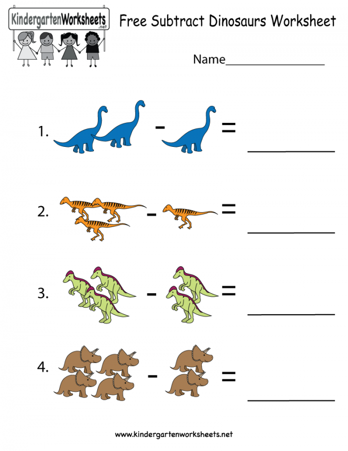 Dinosaurs Subtraction Worksheet For Kindergarteners This Would Be