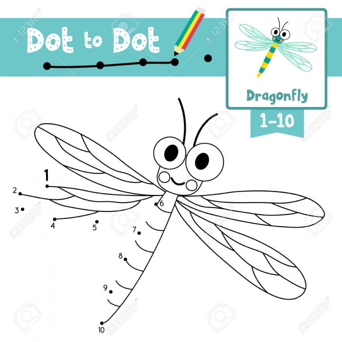 Dot To Dot Educational Game And Coloring Book Of Dragonfly Animals