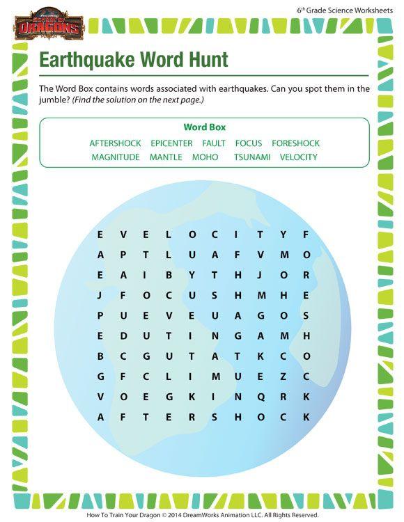 Earthquake Word Hunt Worksheet  Sixth Grade Science Printable