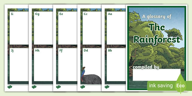 Editable Rainforest Glossary Writing Template Booklet