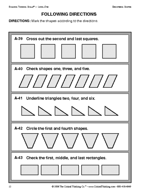 Education World Critical Thinking Following Directions Worksheet