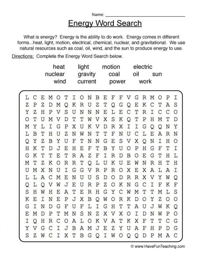 Energy Wordsearch Worksheet