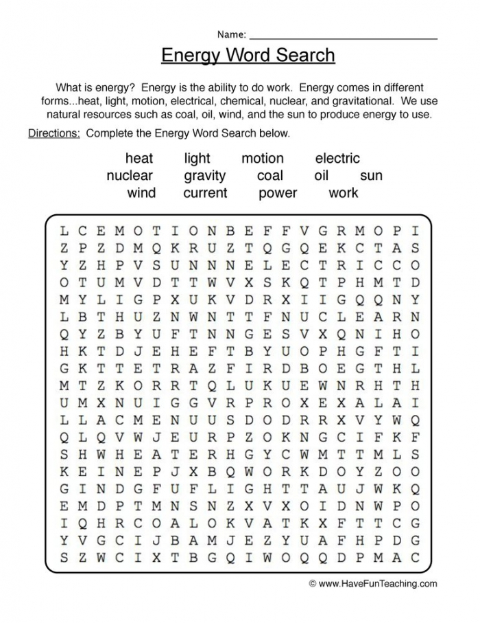 Energy Wordsearch Worksheet  Have Fun Teaching