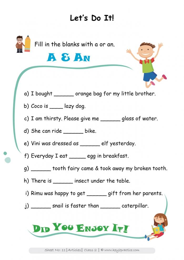 English Grammar Worksheets I Grade  Articles