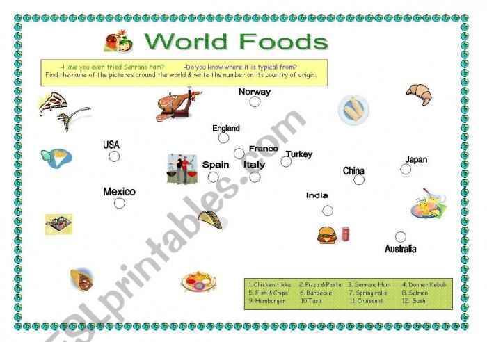 English Worksheets Magical World Food Map