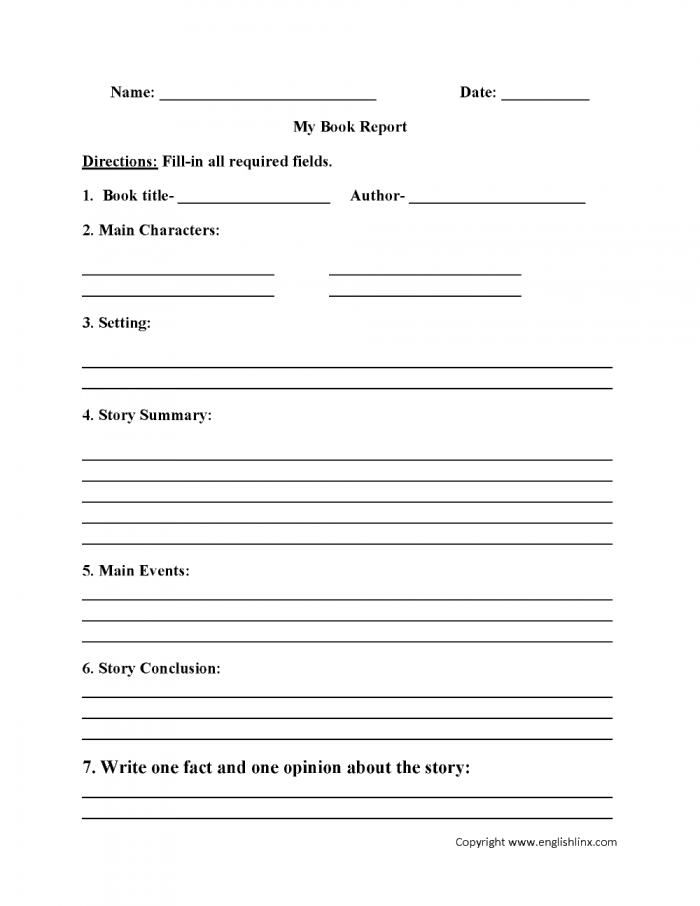 Englishlinx Book Report Worksheets Throughout Book Report Template