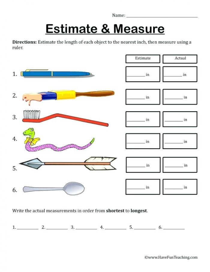 Estimate Measure Inches Worksheet Fun Teaching Measurement Length