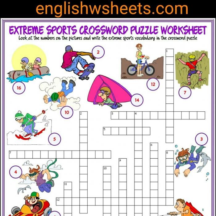 Extreme Sports Esl Printable Crossword Puzzle Worksheet For Kids