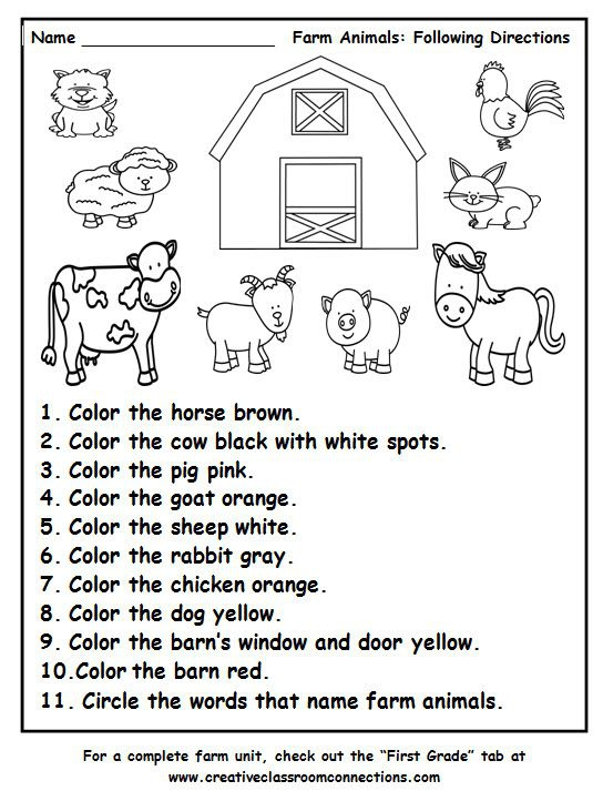 Farm Animals Following Directions Worksheet Provides Practice With