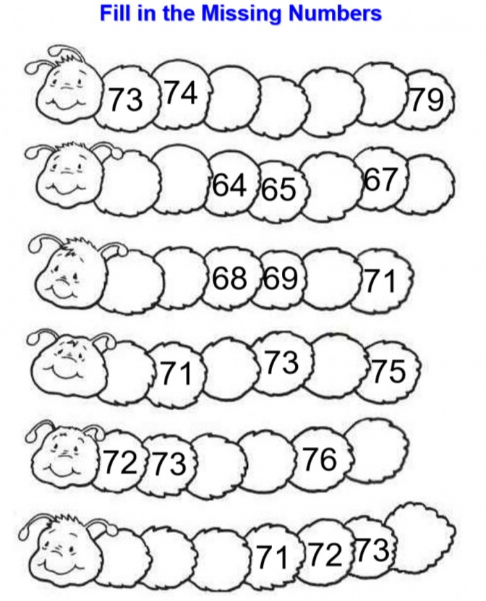 Fill In The Missing Numbers Exercise