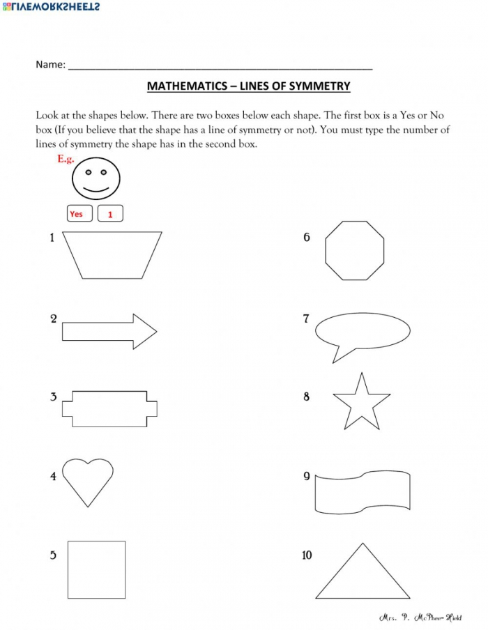 Find The Lines Of Symmetry Worksheet
