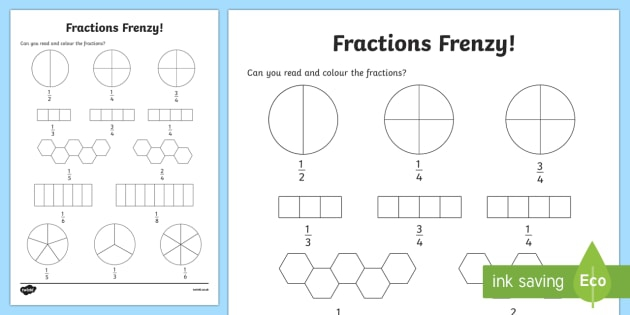 Fractions Frenzy Read And Colour Worksheet  Worksheet